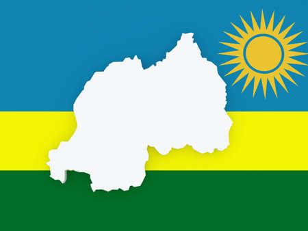 rwanda: Map of Rwanda. 3d