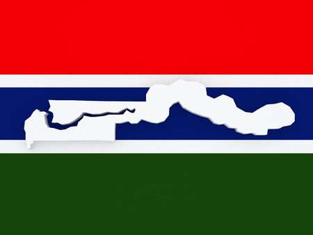 gambia: Map of Gambia. 3d Stock Photo