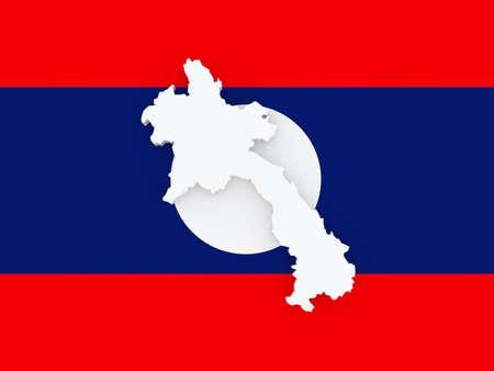 laos: Map of Laos. 3d Stock Photo