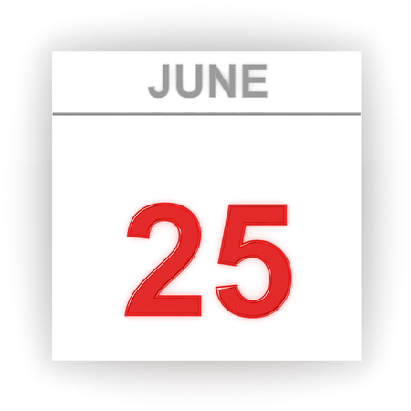 june 25: June 25. Day on the calendar. 3d Stock Photo