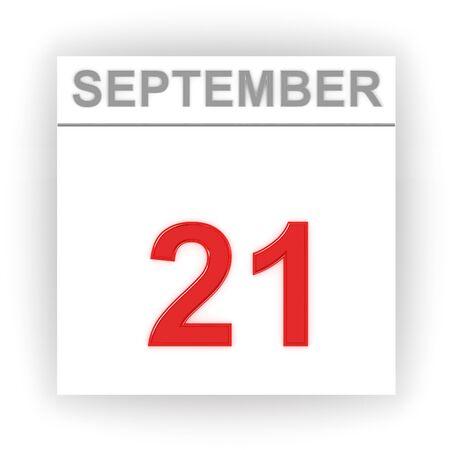 September 21. Day on the calendar. 3d Stock Photo