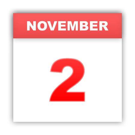 2 november: November 2. Day on the calendar. 3d Stock Photo