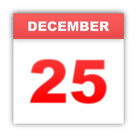 december 25: December 25. Day on the calendar. 3d