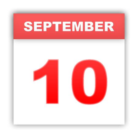 September 10. Day on the calendar. 3d Stock Photo
