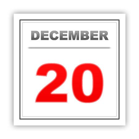 december: December 20. Day on the calendar. 3d