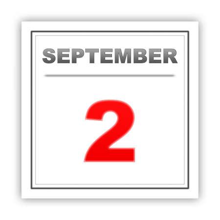 september 2: September 2. Day on the calendar. 3d Stock Photo