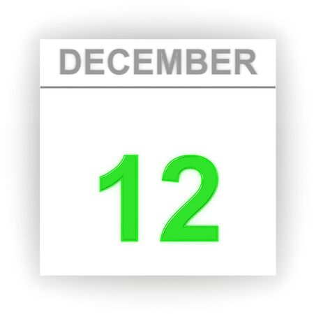 december: December 12. Day on the calendar. 3d