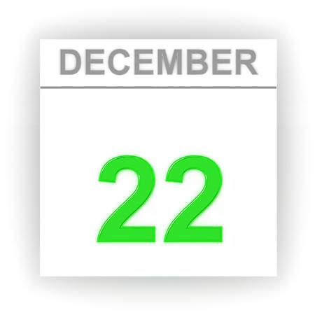 diciembre: 22 de diciembre D�a en el calendario. 3d