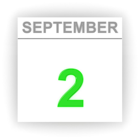 september 2: September 2. Day on the calendar. 3d Stock Photo