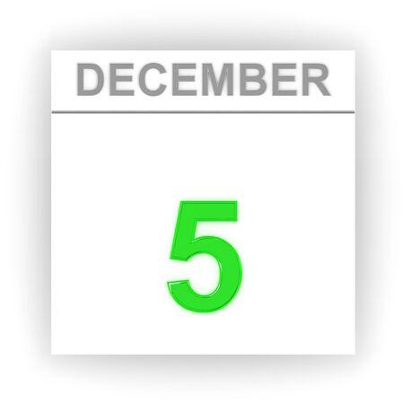 december: December 5. Day on the calendar. 3d Stock Photo