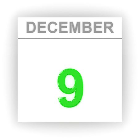 december: December 9. Day on the calendar. 3d Stock Photo
