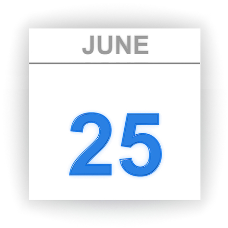 june 25: June 25. Day on the calendar. 3d Stock Photo