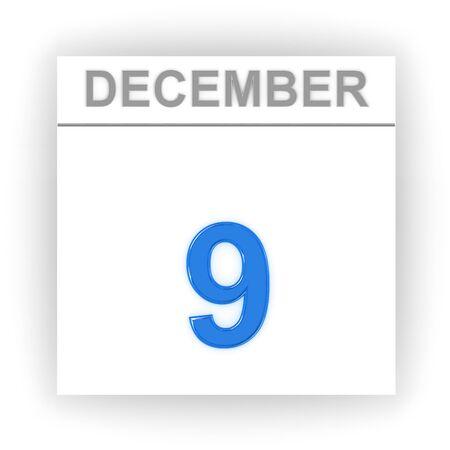 december: December 9. Day on the calendar. 3d Stock Photo