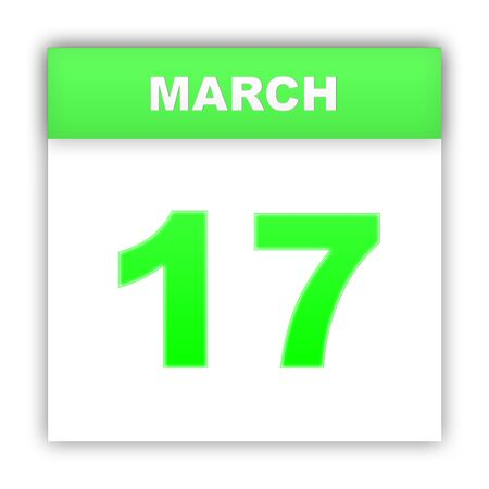 march 17: March 17. Day on the calendar. 3d