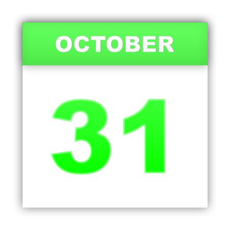 october 31: October 31. Day on the calendar. 3d