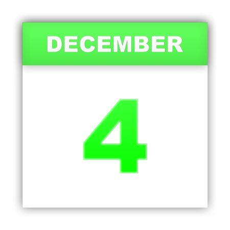 december: December 4. Day on the calendar. 3d Stock Photo