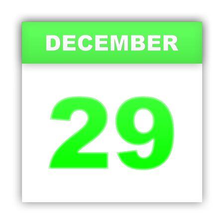 december: December 29. Day on the calendar. 3d Stock Photo