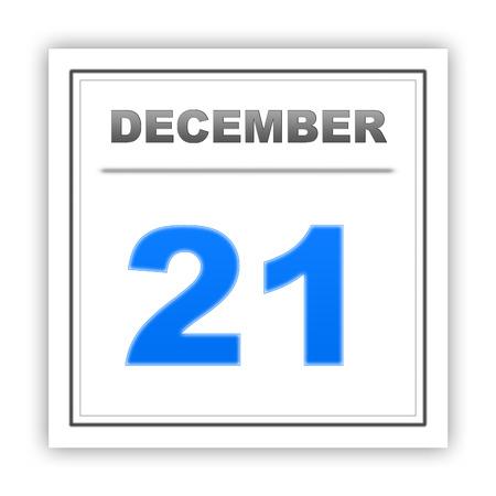 diciembre: 21 de diciembre D�a en el calendario. 3d