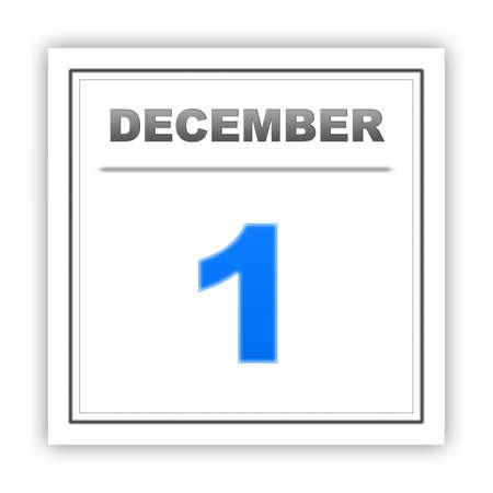 december: December 1. Day on the calendar. 3d Stock Photo