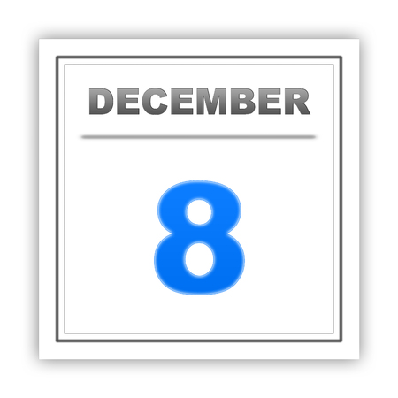 december: December 8. Day on the calendar. 3d