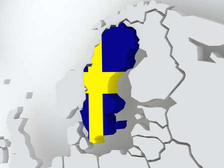 sweden: Map of worlds. Sweden. 3d Stock Photo