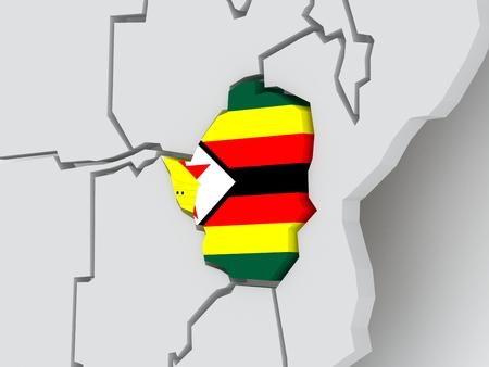 zimbabwe: Mapa de los mundos. Zimbabwe. 3d
