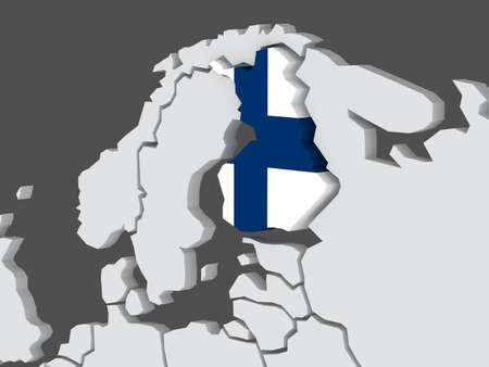 finland: Map of worlds. Finland. 3d Stock Photo