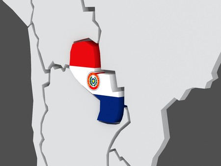 paraguay: Map of worlds. Paraguay. 3d