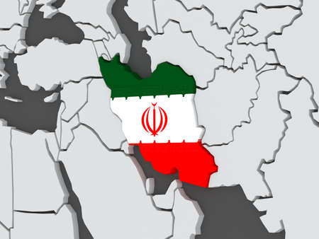 iran: Map of worlds. Iran. 3d Stock Photo