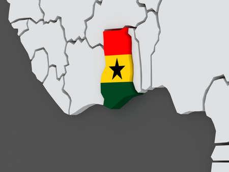 ghana: Map of worlds. Ghana. 3d Stock Photo