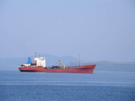 ussuri: A ship at sea. Near the city of Vladivostok. Ussuri Bay.