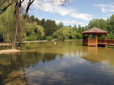 novosibirsk: Beautiful pond in the zoo of Novosibirsk. Russia Stock Photo