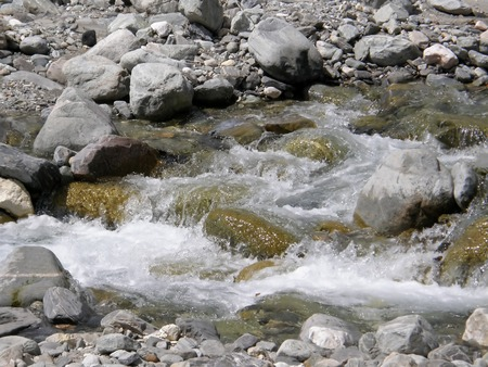 Mountain river with clear water.