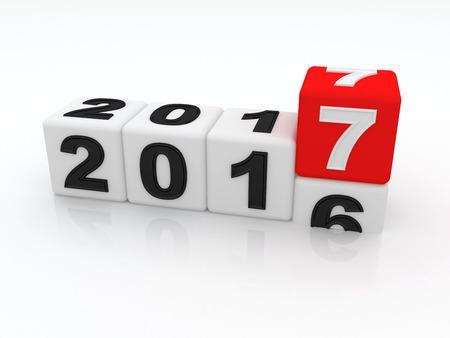 Happy New Year 2017. 3d Foto de archivo