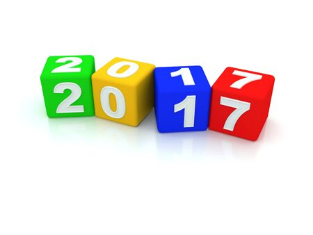 Happy New Year 2017. 3d Stock Photo