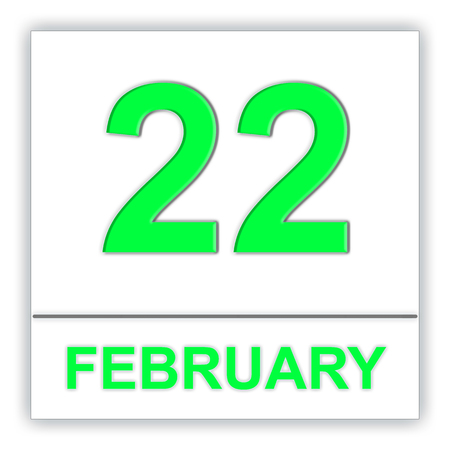 February 22. Day on the calendar. 3D illustration