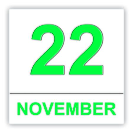 November 22. Day on the calendar. 3D illustration