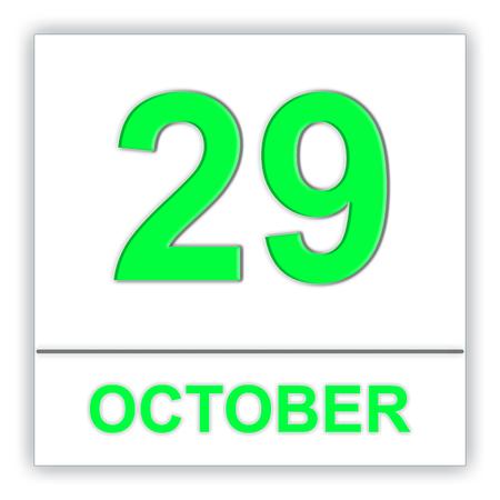 October 29. Day on the calendar. 3D illustration