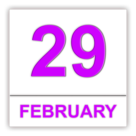 February 29. Day on the calendar. 3D illustration