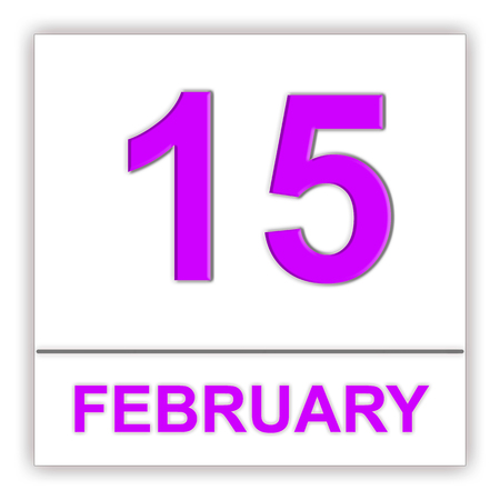 February 15. Day on the calendar. 3D illustration Stock Photo