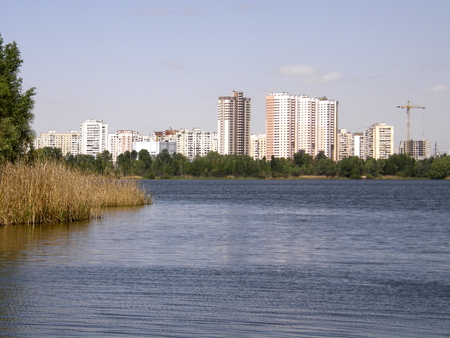 City of Kiev against the backdrop of lakes and wildlife. Ukraine.