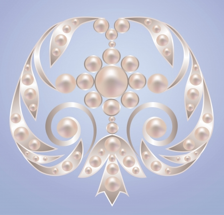 Brooch with white pearls on silver