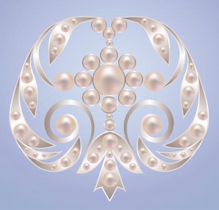 Spilla con perle bianche su argento Archivio Fotografico - 22417276