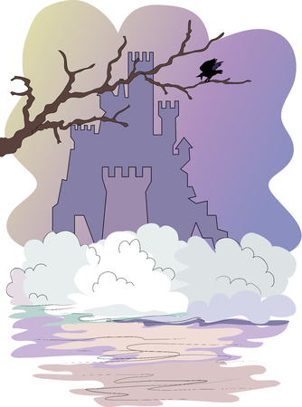 Castle, fog and tree branch with raven