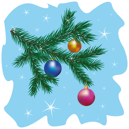 Christmas tree branch with bauble Illustration