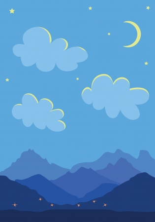 Mountains, moon and cloud at night