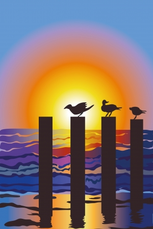 Ocean with sea gulls on posts