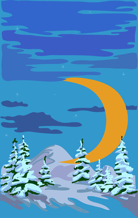 Winter forest and moon