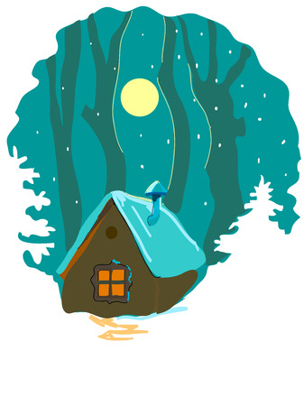 Winter forest and cabin Vector