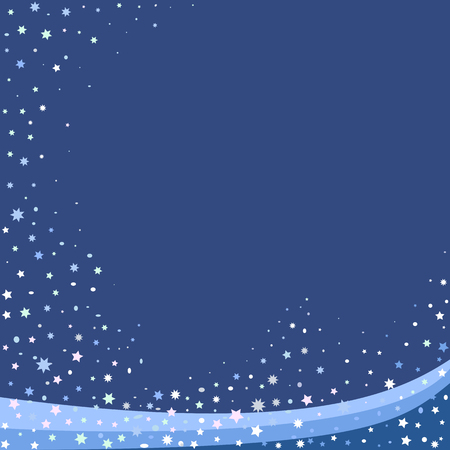 Winter blue abstact background with snowflakes and stars